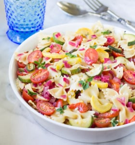 Pasta Salad with Zucchini, Tomatoes, and Roasted Red Peppers | Culinary Hill