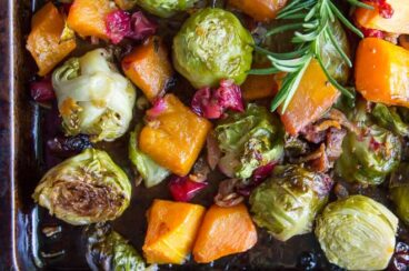 Harvest Roasted Vegetables on a baking sheet.
