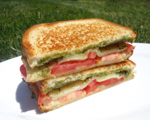 Tomato, Mozzarella, and Pesto Panini via Culinary Hill