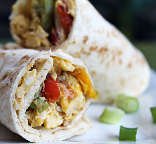 Breakfast Wrap with Scrambled Eggs and Roasted Peppers @ Culinary Hill