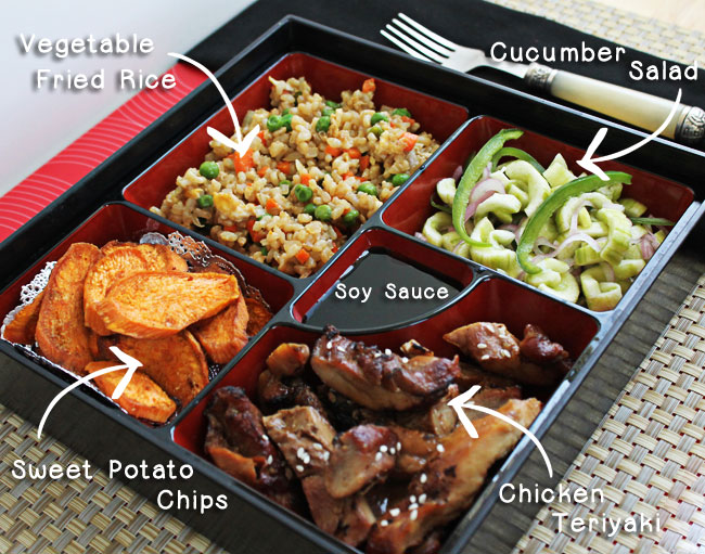 bento box with chicken teriyaki culinary hill. Black Bedroom Furniture Sets. Home Design Ideas
