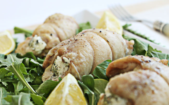 Chicken Roll Ups Stuffed with Goat Cheese and Herbs @ Culinary Hill