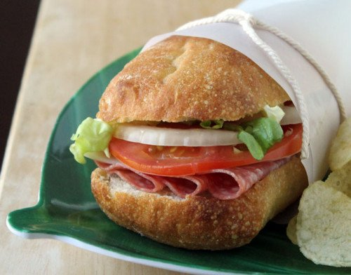 Genoa Salami and Provolone Sandwich with Oil and Vinegar Dressing @ Culinary Hill