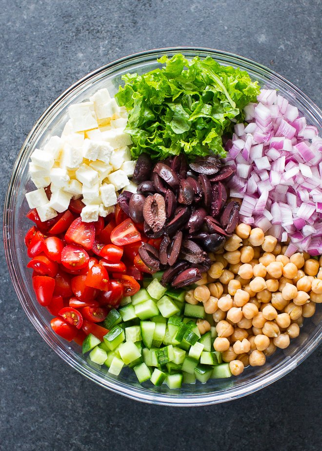 ALL my favorite Greek flavors are in this fresh and easy Mediterranean Chopped Salad. It's great for lunch!