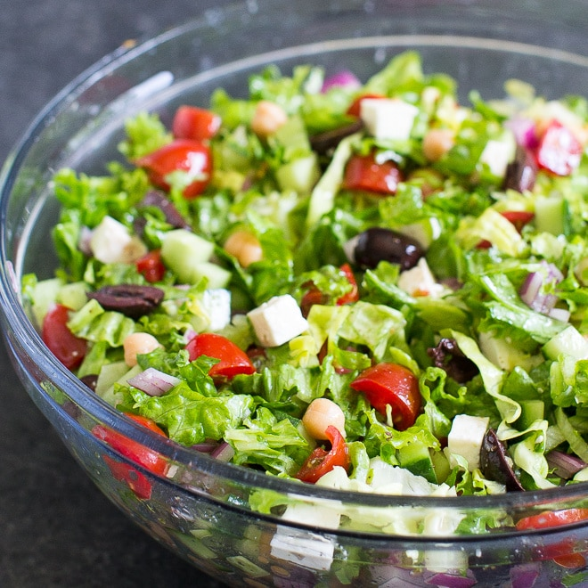 Find all your favorite Greek flavors in this fresh and easy Mediterranean Chopped Salad. It's great for lunch or makes a stellar summer side dish!