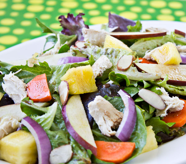 Mixed Greens with Chicken, Pineapple, and Balsamic Vinaigrette | Culinary Hill