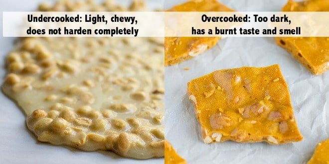 Undercooked vs. overcooked peanut brittle.