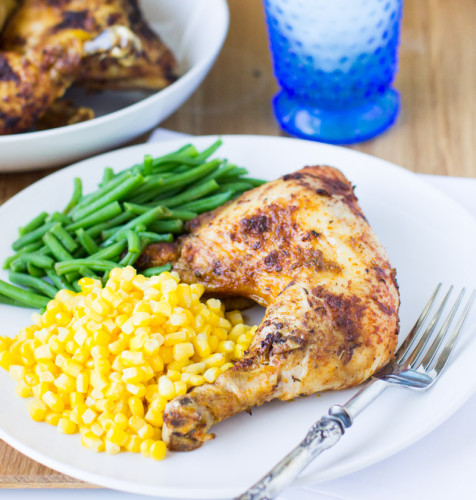 Make Rotisserie Chicken at home using a simple spice blend and a whole chicken or any combination of skin-on chicken pieces. Slow-Cooker friendly!