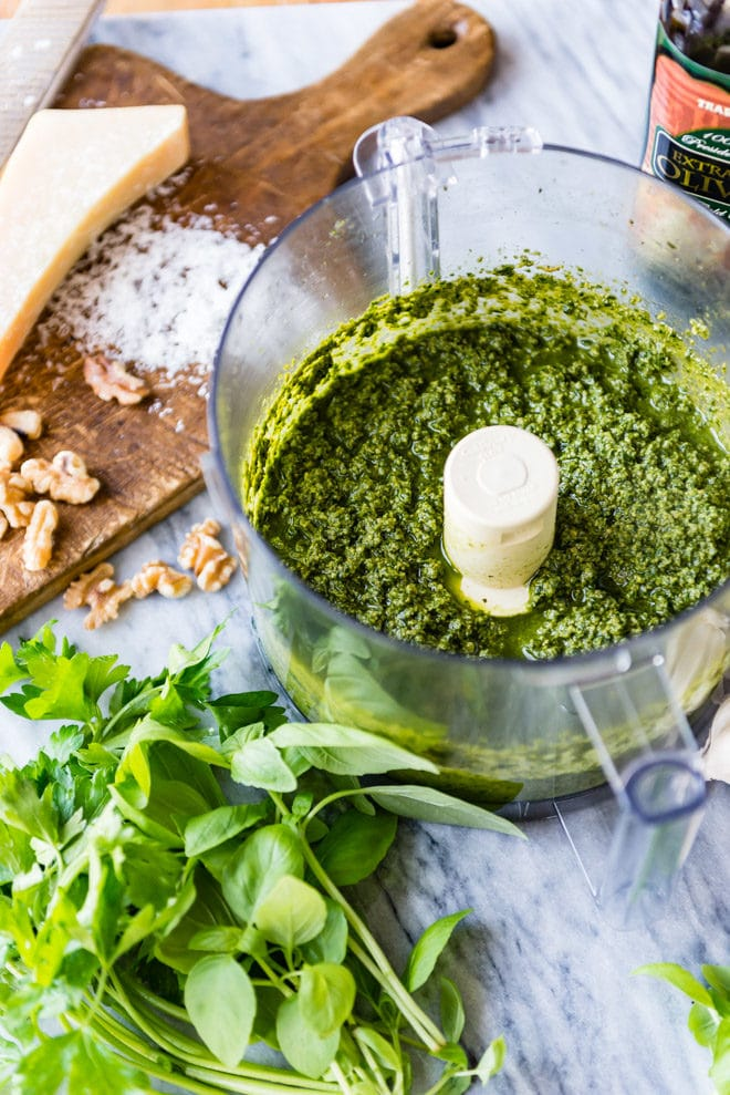Pesto in a food processor.