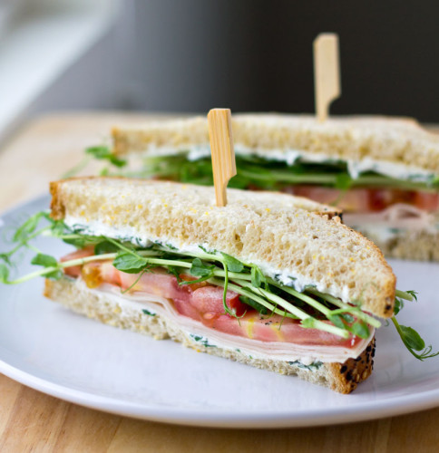 Turkey and Pea Shoots with Herbed Cream Cheese   Culinary Hill