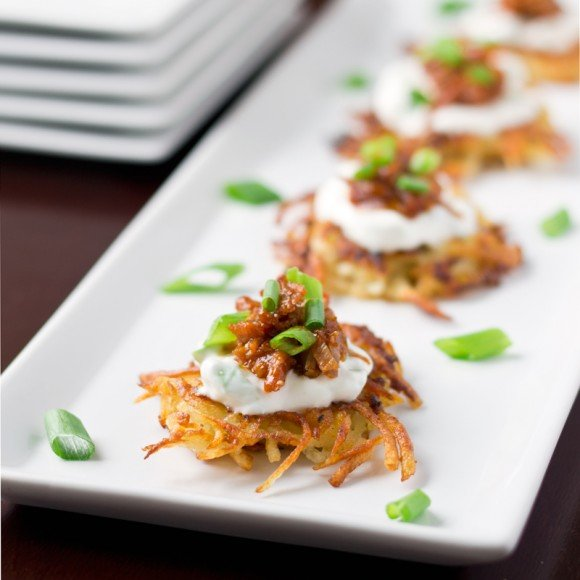 Potato Pancakes with Shredded Barbecue Pork | Culinary Hill
