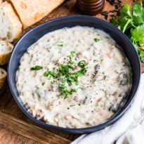An easy recipe for creamy Chicken Soup with wild rice. This is a Minnesota classic perfect for chilly weather. Make a big batch for your next party!