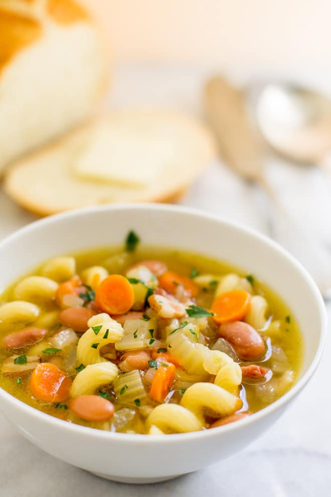 Pasta and Bean Soup in a white bowl.