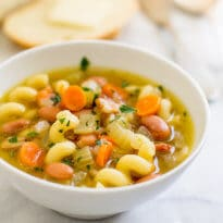 A delicious and hearty Pasta and Bean Soup! Spend 10 minutes building your flavors up front, then let the slow cooker do the rest of the work.