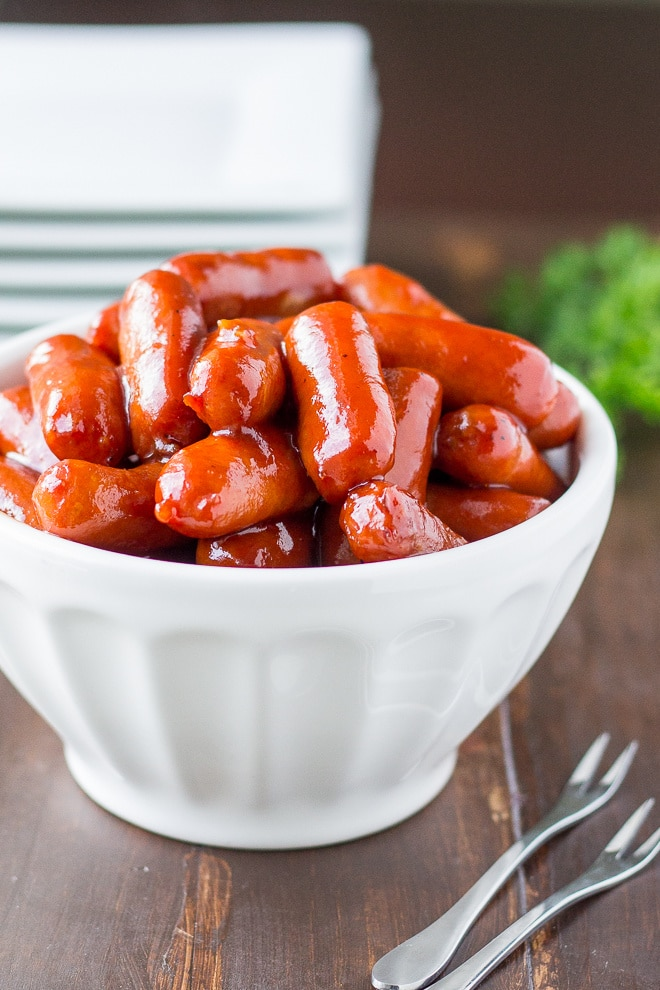 These Barbecue Little Smokies are officially the easiest appetizer, ever. They take just seconds to assemble with zero prep and only 2 ingredients!
