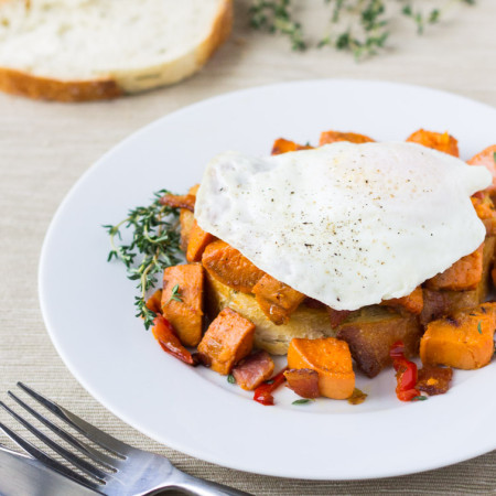 Sweet Potato Hash with Bacon and Red Peppers | Culinary Hill