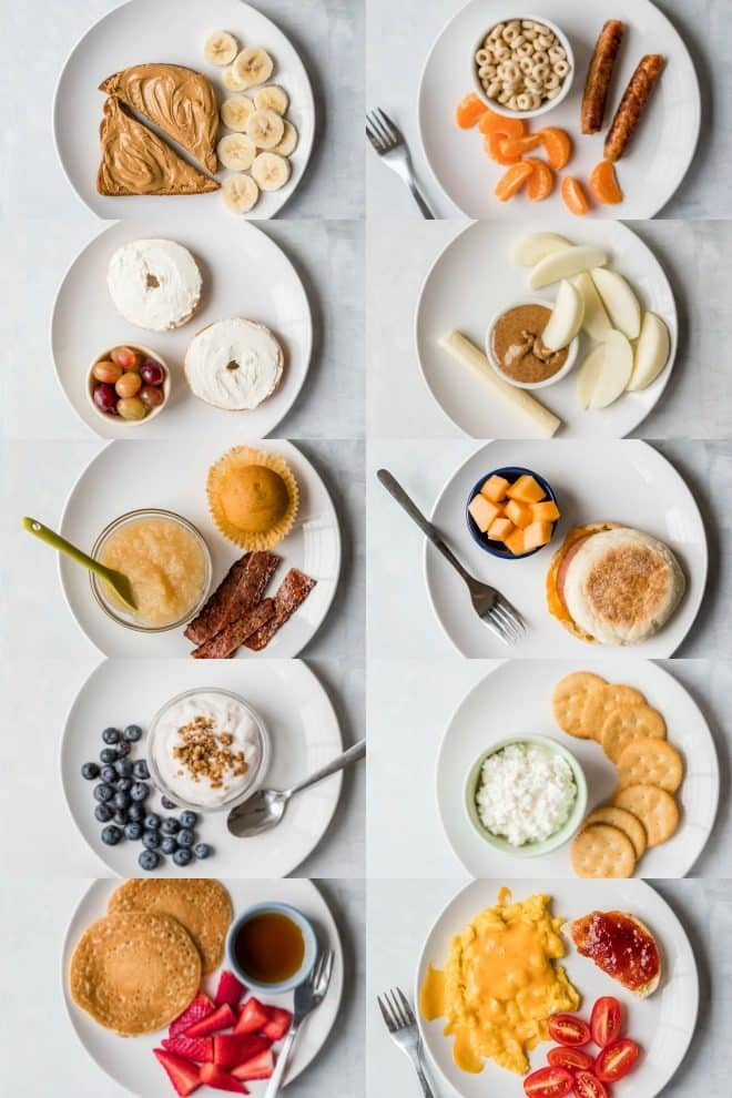10 Toddler Breakfast Ideas - a photo of 10 different breakfast ideas all on white plates with a white background - click photo for full written recipes