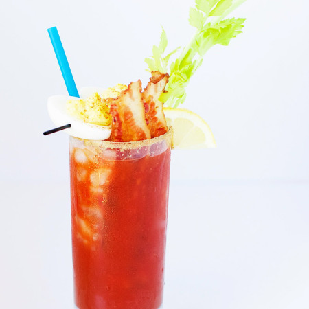The best homemade Bloody Mary mix paired with crispy bacon and deviled eggs. This brunch superstar wants to be your complete breakfast!