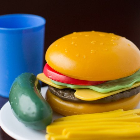Nothing cooks up faster, travels easier, or stays fresh longer than a Classic Plastic Cheeseburger. The tiny size is perfect for small hands, sure to thrill even the pickiest toddlers! #aprilfools