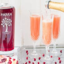 Brunch perfected: This PAMA Pomegranate Mimosa has the traditional ingredients plus a delicious, sweet yet tart splash of all-natural pomegranate flavor.