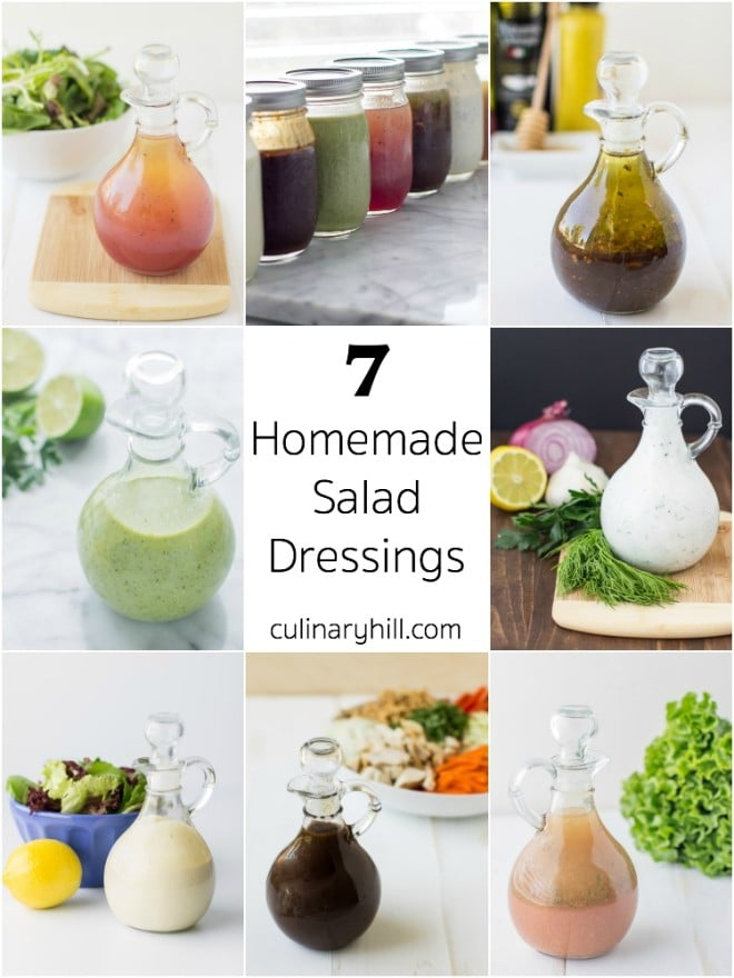 7 simple Homemade Salad Dressing ideas to shake up your salad! Most are ready in minutes and use pantry ingredients. All are easy, fresh, and flavorful!