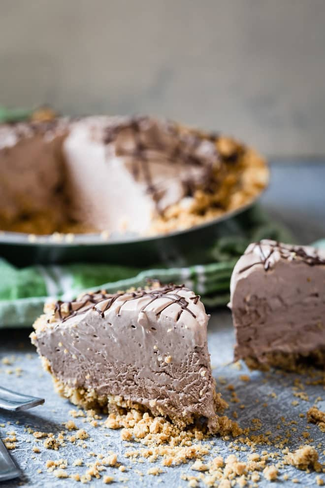 A slice of chocolate cream pie.