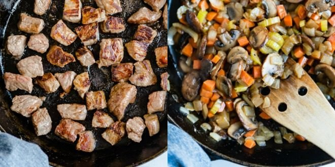 Beef being cooked in a skillet and vegetables being cooked in a skillet.