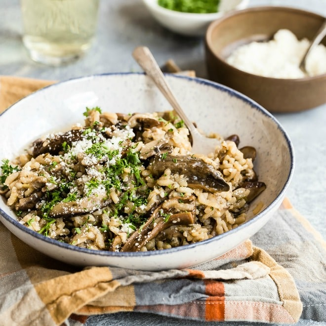 Nutty and rich in flavor, Wild Mushroom Risotto is a dish that is more than worth the effort you'll put into it at the stove. I adore a super creamy risotto, and this recipe is just that, made even more luscious with an assortment of tender, earthy wild mushrooms. You'll savor each bite, I promise.