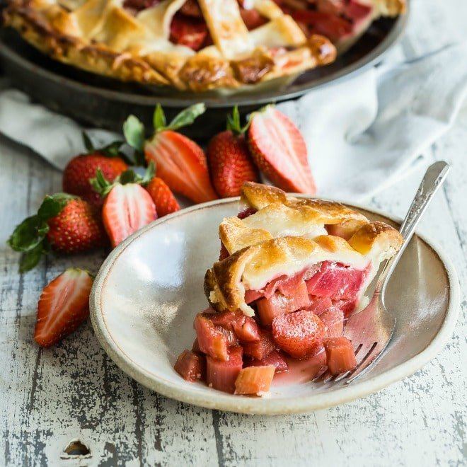If you're lucky enough to find stalks of fresh rhubarb and good strawberries, then this pie should be at the very top of your to-do list. A masterpiece of sweet-tart fruit baked under a flaky lattice crust that's deceptively simple to tackle, this perennial favorite may get gobbled up in less time than it takes to bake. Keep your fork, there's pie!