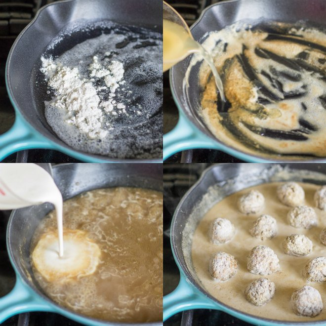 Swedish Meatball Gravy - Four pictures showing the addition of ingredients in a cast iron skillet - click photo for full written recipe