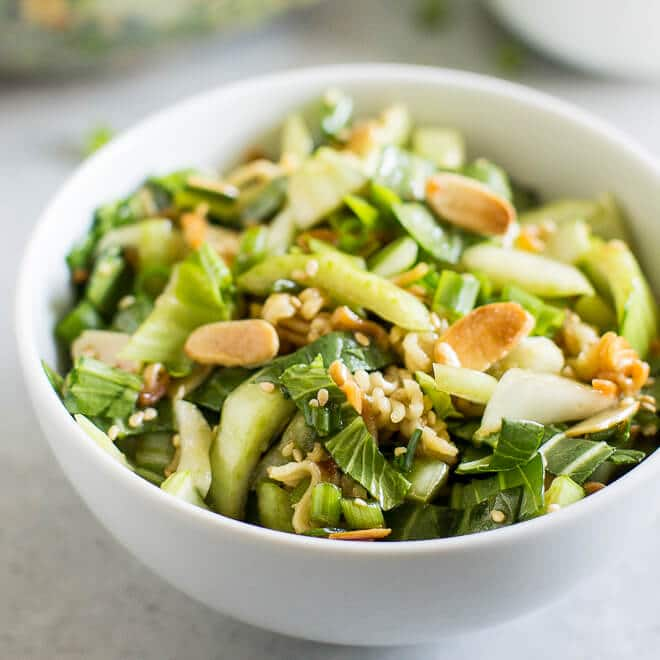 This Baby Bok Choy Salad is full of crunchy almonds, ramen noodles, and a sweet Sesame Dressing. It's like Chinese takeout in salad form!