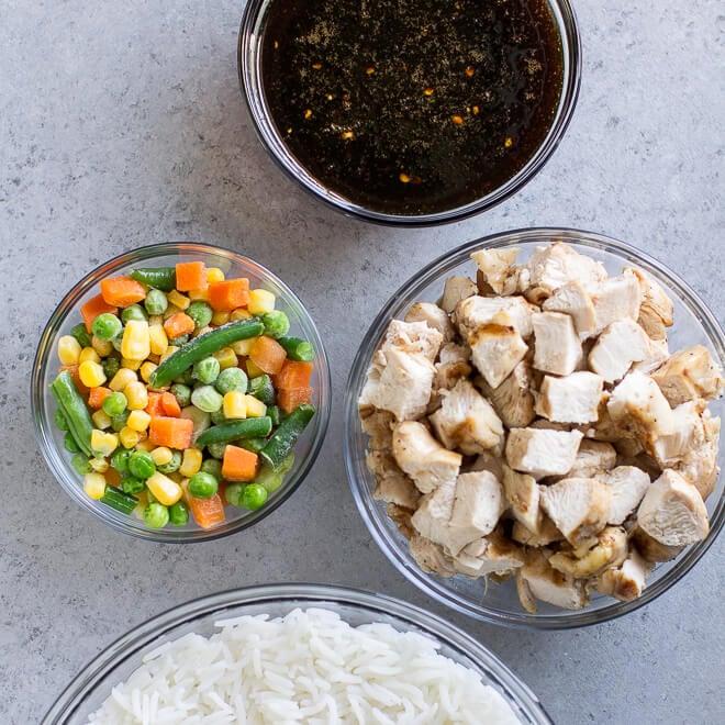 Teriyaki chicken bowl ingredients.