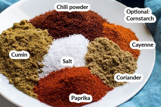 Labeled taco seasoning ingredients on a white plate.