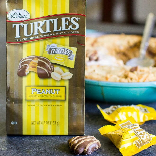 A Peanut Butter Pizookie with lots of TURTLES® candies mixed in makes a great crowd-sized dessert! Just spread the batter in an oven-safe skillet and bake.