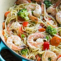 Shrimp Pasta Primavera in a blue pot.