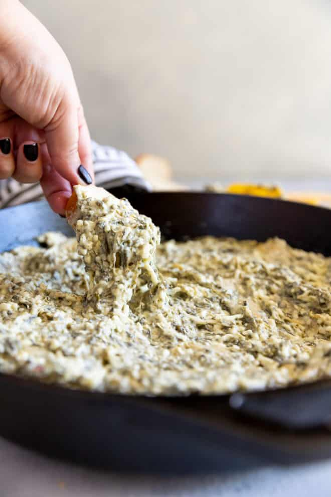 You know that incredibly cheesy, gooey Spinach and Artichoke Dip you can order at your neighborhood Applebee's? The flavor is ten times better when you make it in your home kitchen. Baked until hot and bubbly, all you'll need is crispy bread, tortilla chips, or a giant spoon!