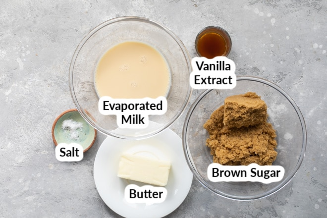 Caramel sauce ingredients in various bowls.