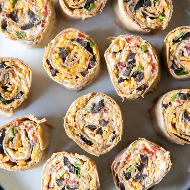 Taco Tortilla Roll Ups on parchment paper.