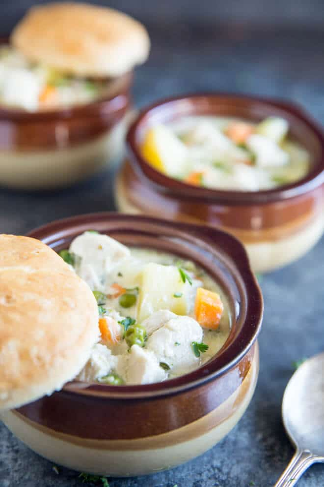 Creamy and delicious, this Chicken Pot Pie Soup is an easier version of the ultimate classic comfort food! Chicken and veggies never tasted so good.