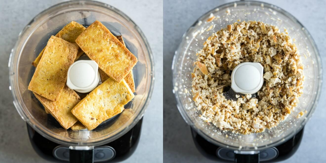 Browned tofu in a food processor next to a food processor with the processed tofu in it.