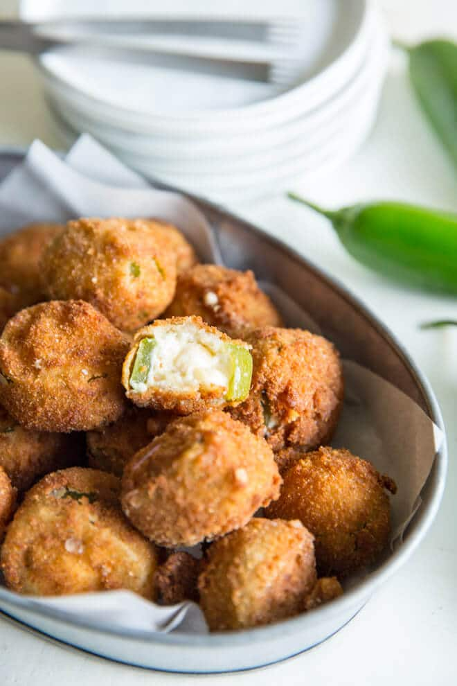 A side shot of jalapeno poppers.