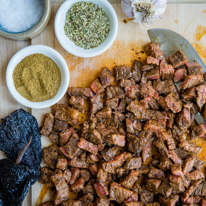 Chipotle Steak Recipe - a photo of chopped steak with spices in white dishes in the top left corner - click photo for full written recipe