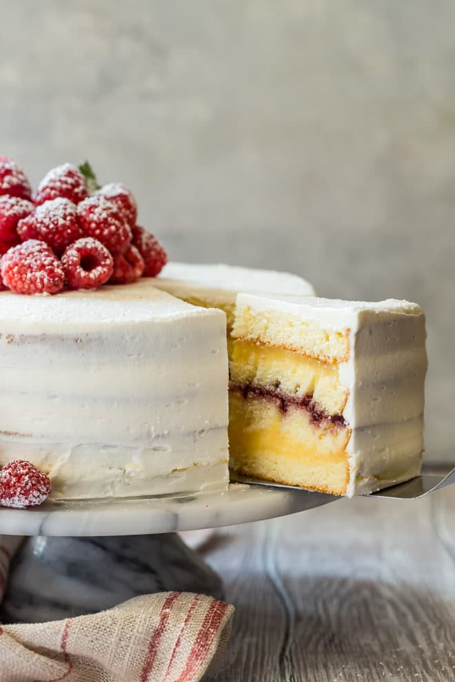 Traditional Danish Layer Cake Has Creamy Vanilla Pudding And Raspberry Jam Layered Between Homemade Yellow