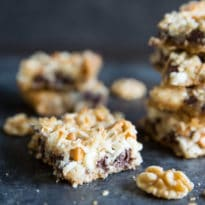 Classic Seven Layer Bars have 7 layers of sweet, crunchy, and chewy flavors. Studded with walnuts, coconut, and all the chips, these are always a favorite!
