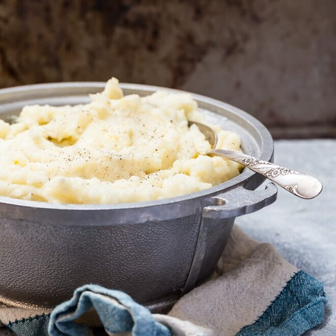 The Best Mashed Potatoes in the world barely even need a recipe, they're so easy to whip up. All it takes is three ingredients to make perfect homemade potatoes that absolutely hit the spot with every fluffy forkful.