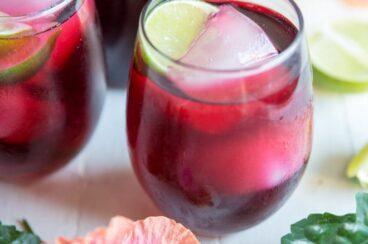 Two glasses of Agua de Jamaica Hibiscus Tea.