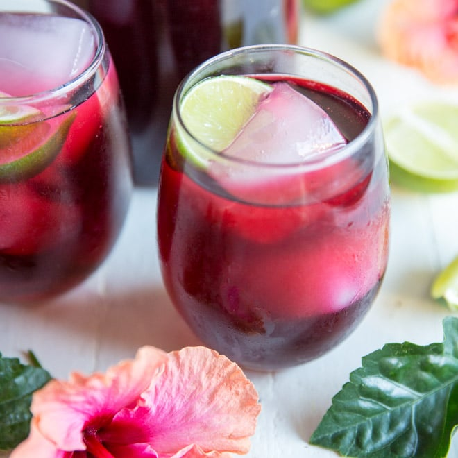Made from dried Hibiscus Flowers, this Agua de Jamaica recipe makes a tart herbal tea you can serve hot or cold. Sweeten Hibiscus Tea with sugar or honey.