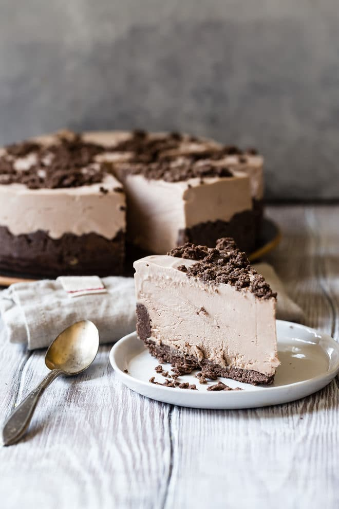 My grandma's famous Frosty Chocolate Cheesecake has a chocolate cookie crust and a creamy chocolate cheesecake filling. And it's best served ice cold!