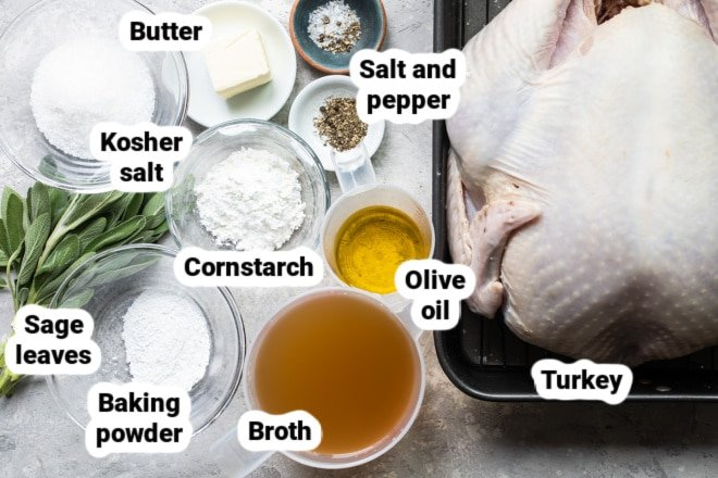 Ingredients for roasted turkey labeled and in bowls.