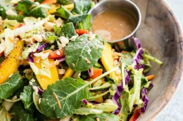 Rainbow Thai salad in a brown bowl.
